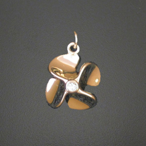 14k 4 blade propeller pendant with 11ct diamond mozeypictures Gallery
